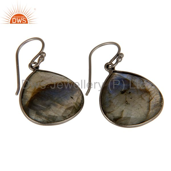 Wholesalers Black Rhodium Plated Sterling Silver Labradorite Gemstone Drop Earrings