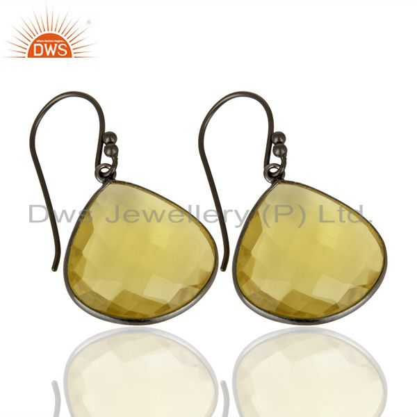 Exporter Oxidized Sterling Silver Natural Lemon Topaz Gemstone Bezel Set Drop Earrings