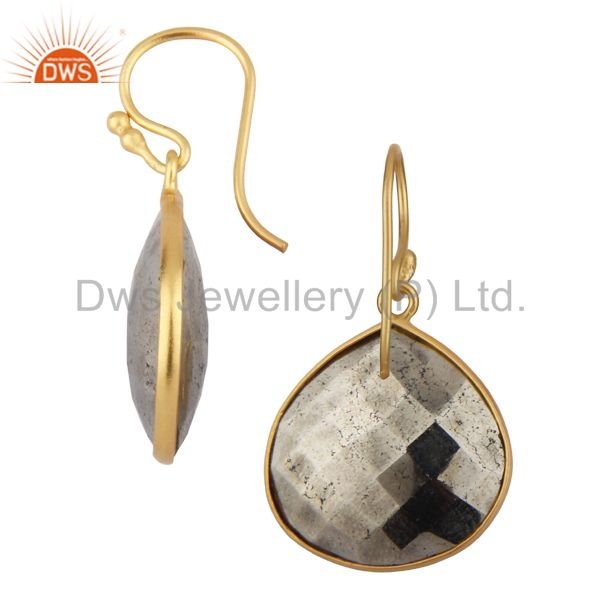 Exporter 14K Yellow Gold Plated Sterling Silver Faceted Pyrite Bezel Set Drop Earrings