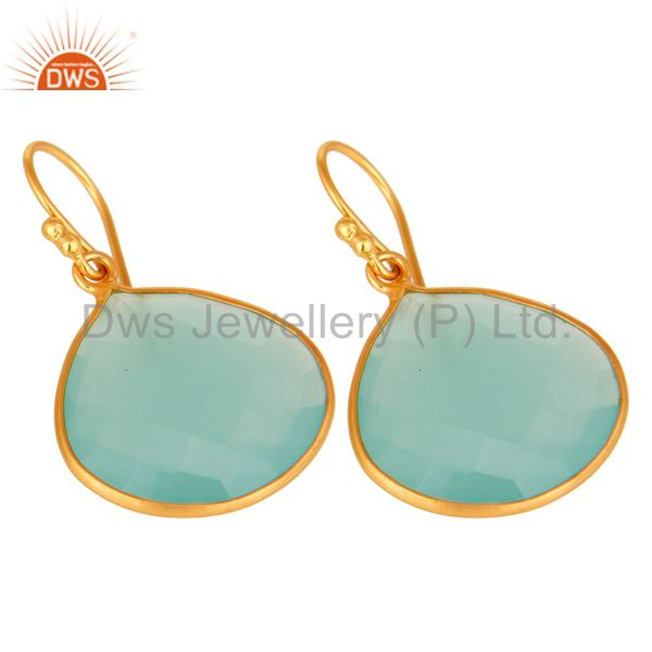 Wholesalers Dyed Aqua Blue Chalcedony Gemstone 18K Gold Over Sterling Silver Dangle Earrings
