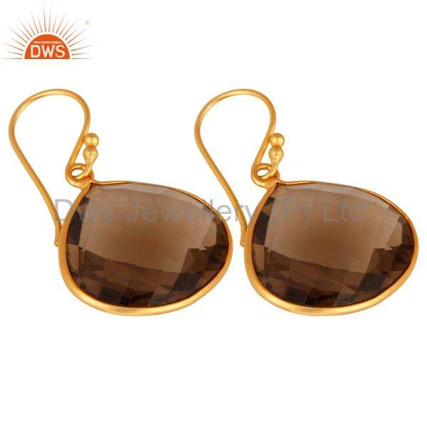 Wholesalers Faceted Smoky Quartz 18K Gold Plated Sterling Silver Bezel-Set Hook Earrings