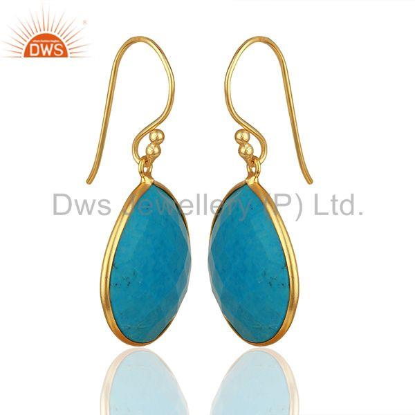 Exporter Handmade 925 Silver Gold Plated Turquoise Gemstone Drop Earrings