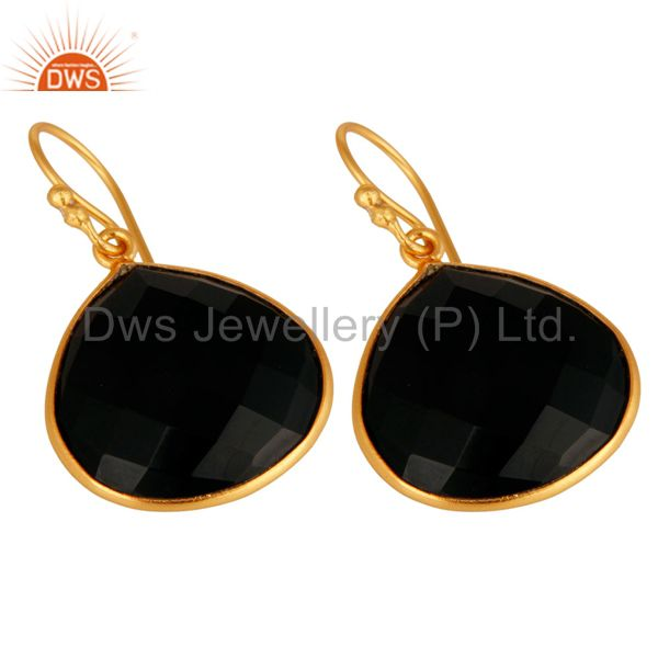 Wholesalers 18K Gold Plated Sterling Silver Black Onyx Faceted Gemstone Earrings