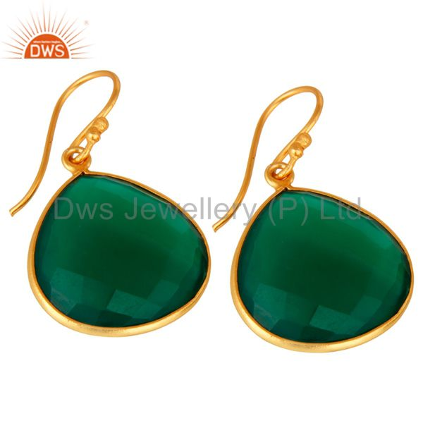 Wholesalers Faceted Green Onyx Gemstone 24K Gold Plated Sterling Silver Drop Earrings