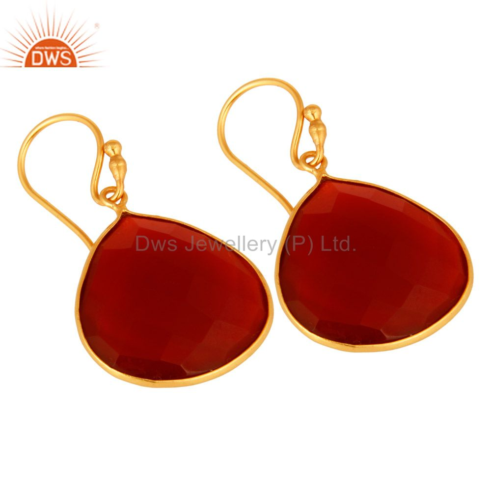 Wholesalers 18k Gold over Sterling Silver Red Onyx Gemstone Faceted Drop Earrings