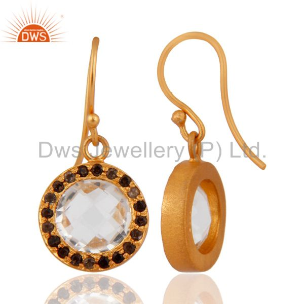 Exporter 18K Gold Plated Sterling Silver Crystal Quartz And Smoky Quartz Dangle Earrings