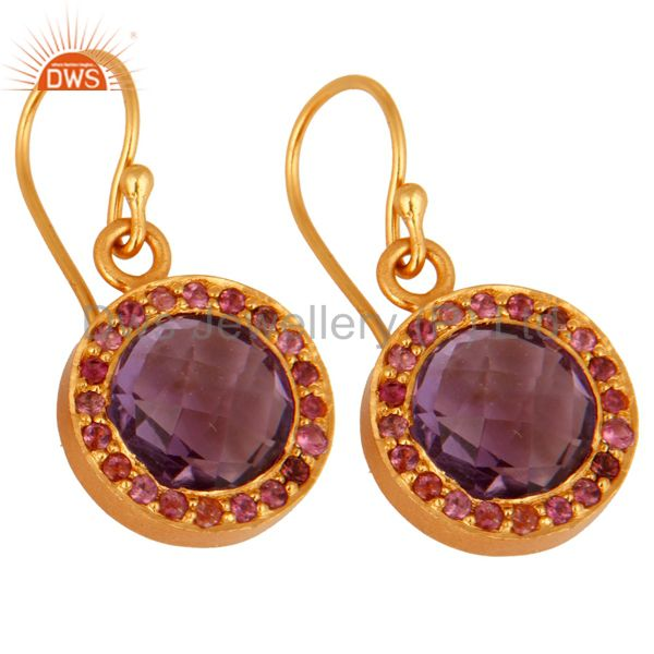 Wholesalers 925 Sterling Silver Amethyst Gemstone Dangle Earring With 18K Gold Plated