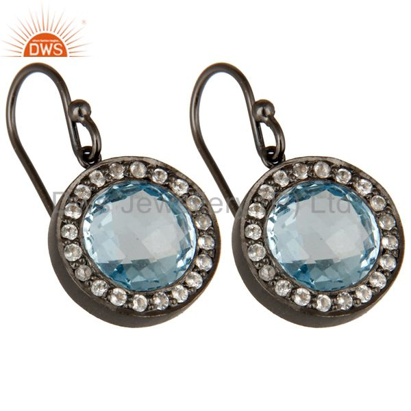 Wholesalers Oxidized Sterling Silver Blue Topaz And White Topaz Halo Dangle Earrings