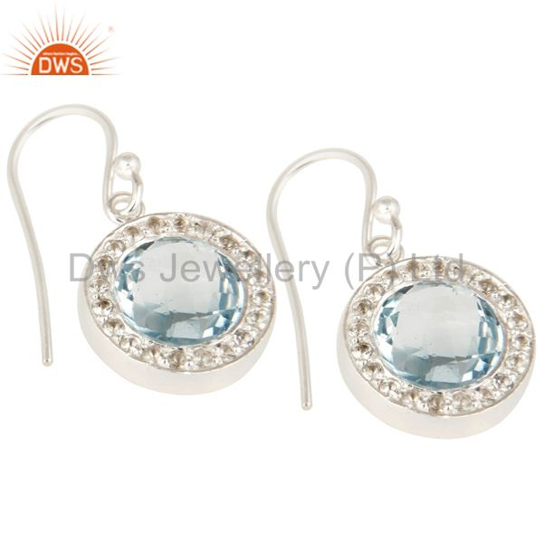 Wholesalers Solid 925 Sterling Silver Blue Topaz And White Topaz Halo Dangle Earrings