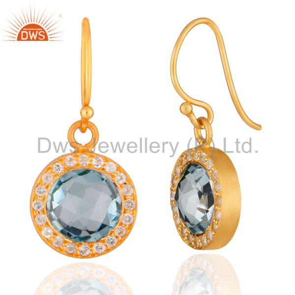 Exporter 14K Yellow Gold Plated Sterling Silver Blue Topaz And White Topaz Halo Earrings