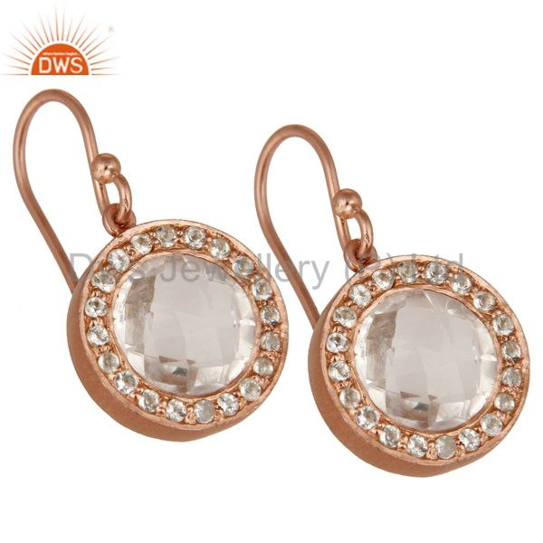 Wholesalers 18K Rose Gold Plated Sterling Silver Crystal Quartz & White Topaz Dangle Earring