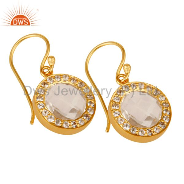 Wholesalers 18K Gold Plated Sterling Silver Crystal Quartz & Topaz Halo Style Drop Earrings