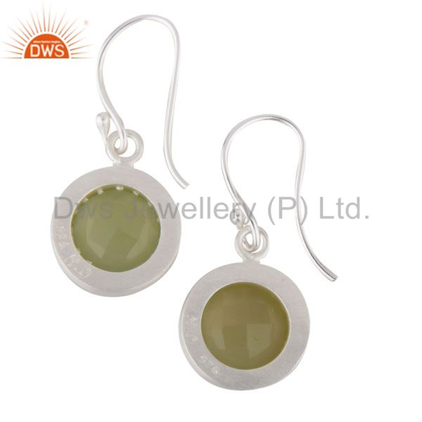 Exporter Solid 925 Sterling Silver Dyed Chalcedony & White Topaz Halo Drops Earrings