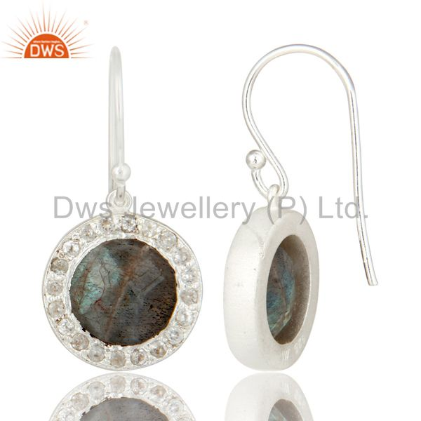 Suppliers 925 Sterling Silver Labradorite And White Topaz Halo Style Dangle Earrings