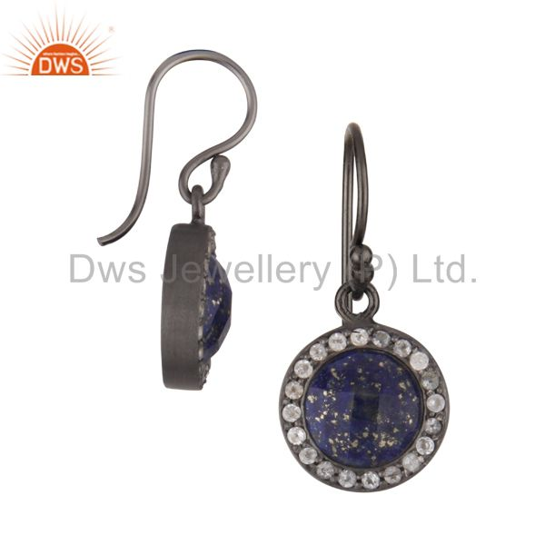 Exporter Oxidized Sterling Silver Lapis Lazuli And White Topaz Halo Style Drop Earrings