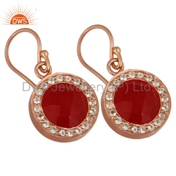Exporter 18K Rose Gold Plated Red Aventurine And White Topaz Halo Drop Earrings
