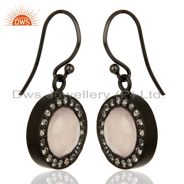 Exporter Rose Chalcedony White Topaz Dangle Black Oxidized 925 Sterling Silver Earrings
