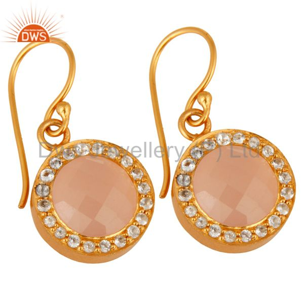 Wholesalers 18K Yellow Gold Plated Sterling Silver Chalcedony And White Topaz Halo Earrings