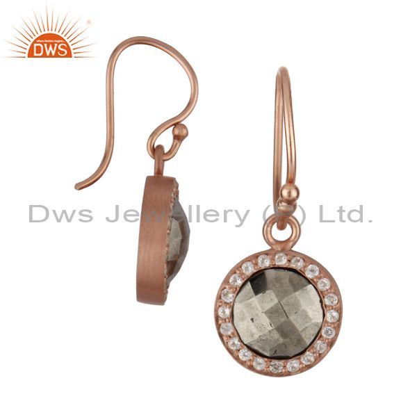 Exporter 18K Rose Gold Plated Sterling Silver Pyrite And White Topaz Halo Earrings