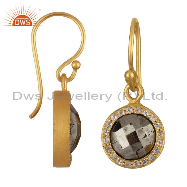 Exporter 18K Yellow Gold Plated Sterling Silver Pyrite And White Topaz Halo Drop Earrings