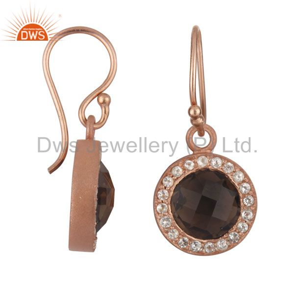 Exporter 18K Rose Gold Plated Sterling Silver Smoky Quartz And White Topaz Halo Earrings