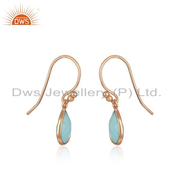 Exporter Aqua Chalcedony Gemstone Rose Gold Plated 925 Silver Earrings Supplier