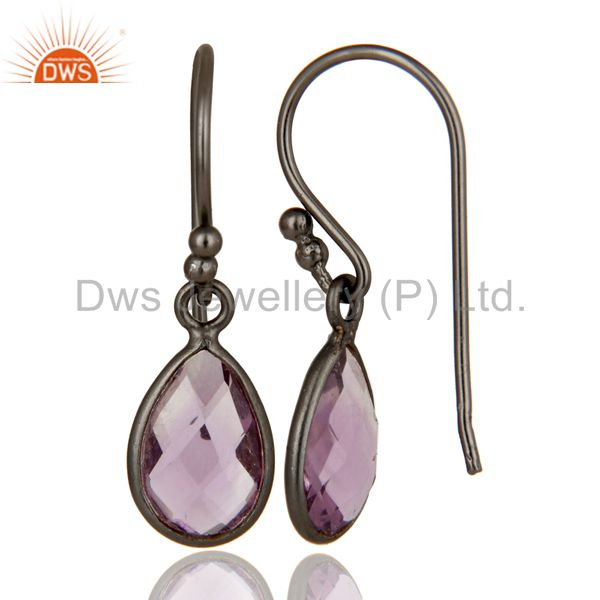 Wholesalers Handmade Sterling Silver With Oxidized Amethyst Gemstone Bezel Dangle Earrings