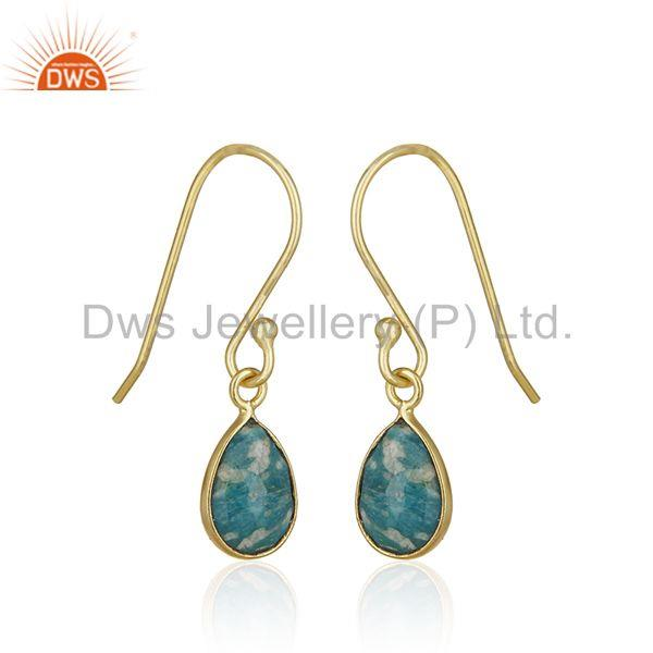 Exporter Amazonite Gemstone 925 Silver 14k Gold Plated Drop Earring Jewelry Wholesale