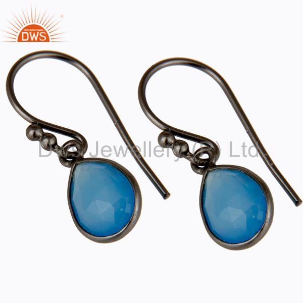 Wholesalers Oxidized Sterling Silver Faceted Blue Chalcedony Bezel Set Teardrop Earrings