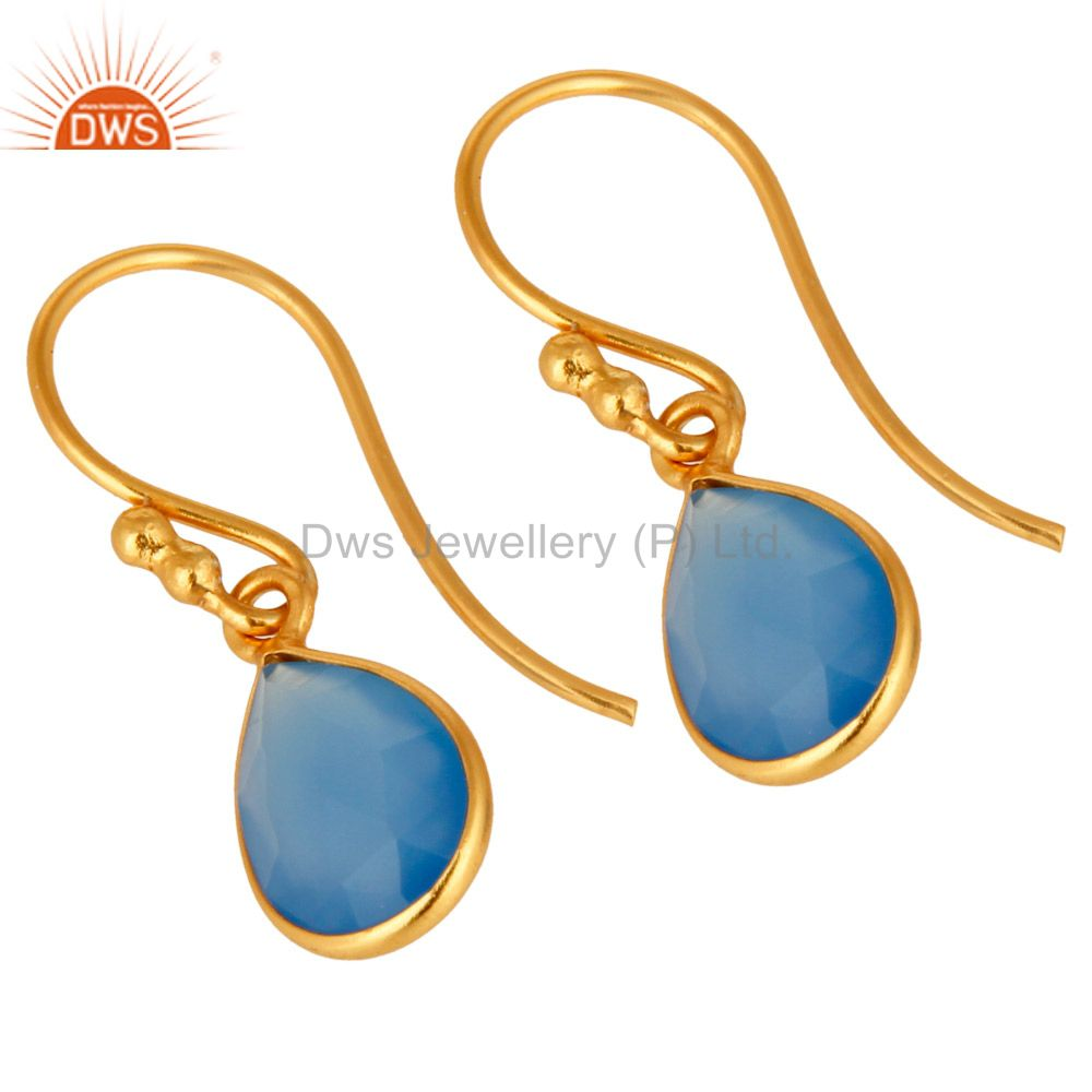 Wholesalers Faceted Dyed Chalcedony Gemstone Sterling Silver Drop Earrings - Gold Plated