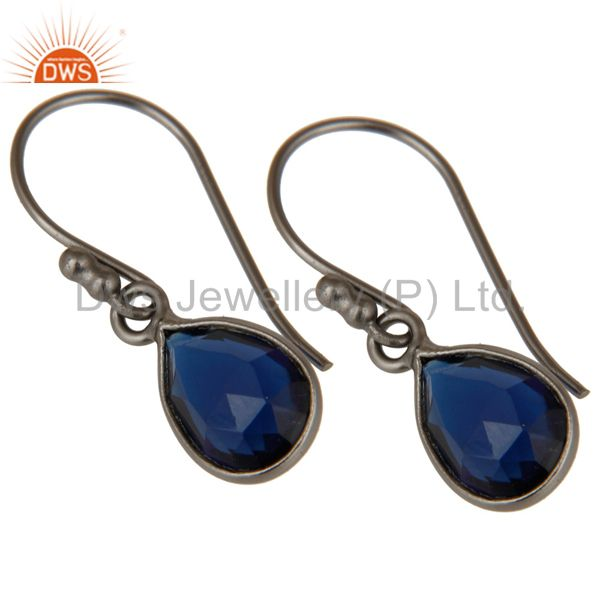 Wholesalers Black Oxidized Sterling Silver Corrundum Bezel Set Teardrop Earrings