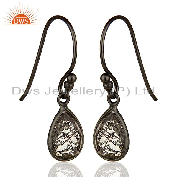 Exporter Handmade 925 Silver Black Rutile Gemstone Girls Drop Earrings Jewelry