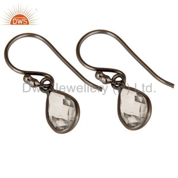Wholesalers Oxidized Sterling Silver Faceted Crystal Quartz Bezel Set Teardrop Earrings