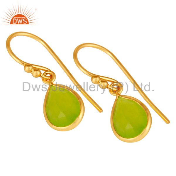 Wholesalers 18K Yellow Gold Plated Sterling Silver Green Chalcedony Bezel Set Dangle Earring