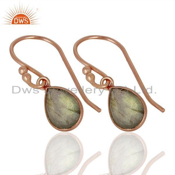 Exporter 18K Rose Gold Plated Sterling Silver Faceted Labradorite Bezel Set Drop Earrings