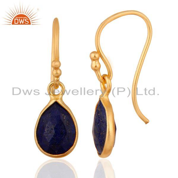 Wholesalers Natural Lapis Lazuli Gemstone 925 Sterling Silver Earrings With 24k Gold Plated