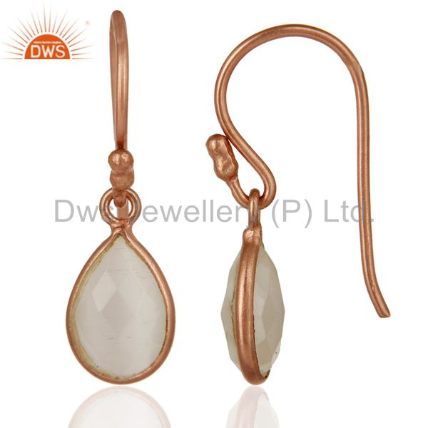 Suppliers 18K Rose Gold Plated Sterling Silver Faceted White Moonstone Bezel Drop Earrings