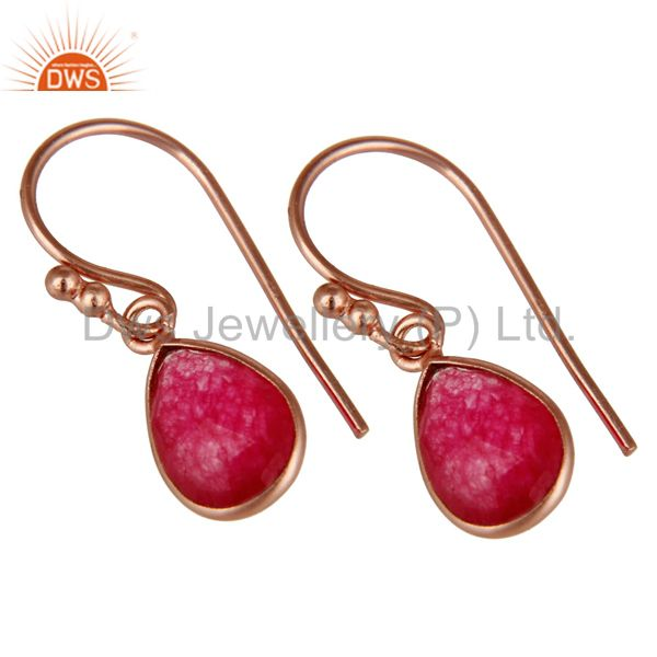 Wholesalers 18K Rose Gold Plated Sterling Silver Red Aventurine Bezel Set Teardrop Earrings