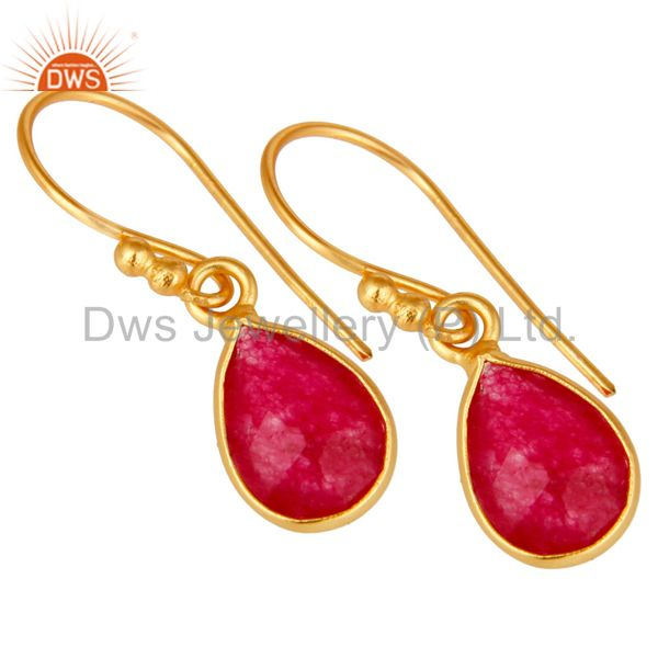 Wholesalers 18K Yellow Gold Plated Sterling Silver Red Aventurine Bezel Set Dangle Earrings
