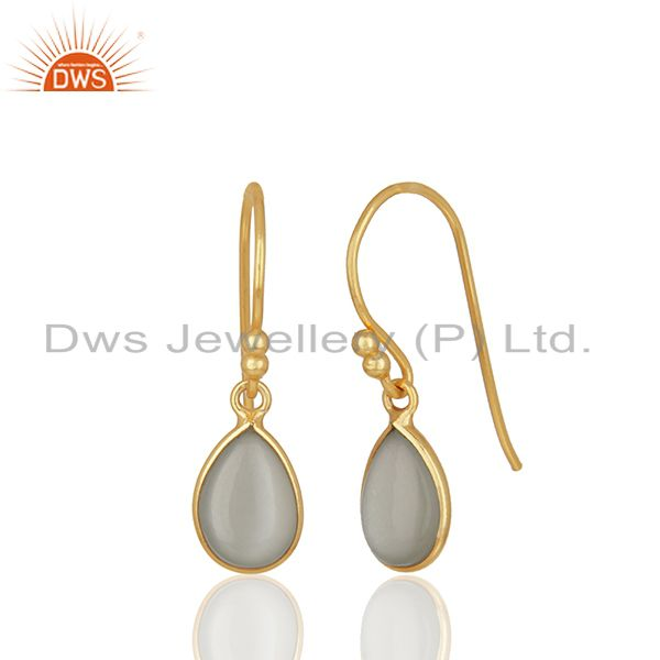 Exporter Gold Plated Sterling Silver Moonstone Earrings Manufacturers