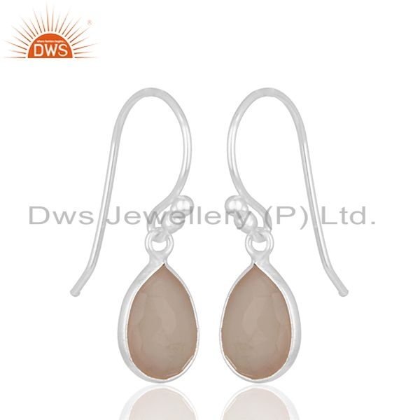 Exporter Handmade 925 Silver Rose Chalcedony Gemstone Drop Earrings Wholesale