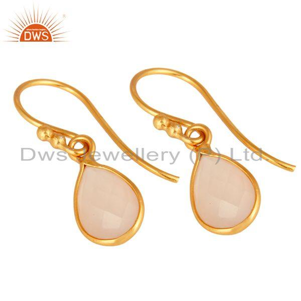 Wholesalers 18K Yellow Gold Plated Sterling Silver Rose Chalcedony Bezel Set Dangle Earrings