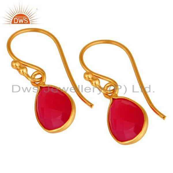Wholesalers 18K Yellow Gold Plated Sterling Silver Pink Chalcedony Bezel Set Drop Earrings