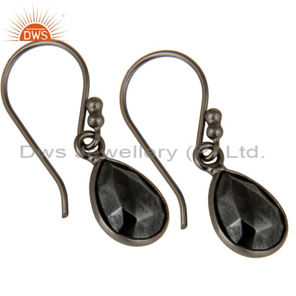 Exporter Oxidized Solid Sterling Silver Faceted Pyrite Bezel Set Gemstone Drop Earrings