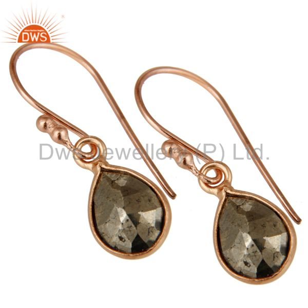 Wholesalers 18K Rose Gold Plated Sterling Silver Pyrite Bezel Set Teardrop Earrings