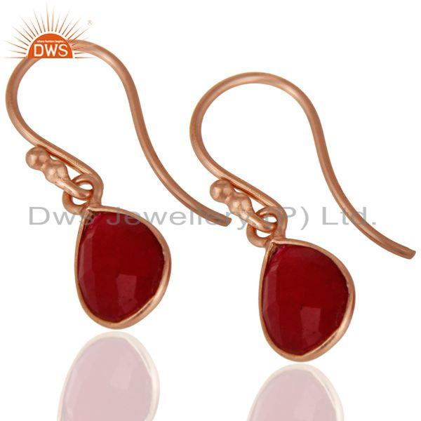 Wholesalers 18K Rose Gold Plated Sterling Silver Dyed Ruby Gemstone Bezel Teardrop Earrings