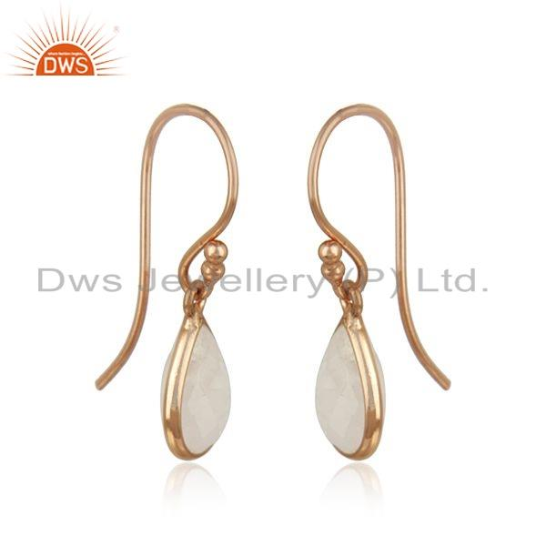 Exporter Silver Rose Gold Plated Rainbow Moonstone Gemstone Earrings Jewelry