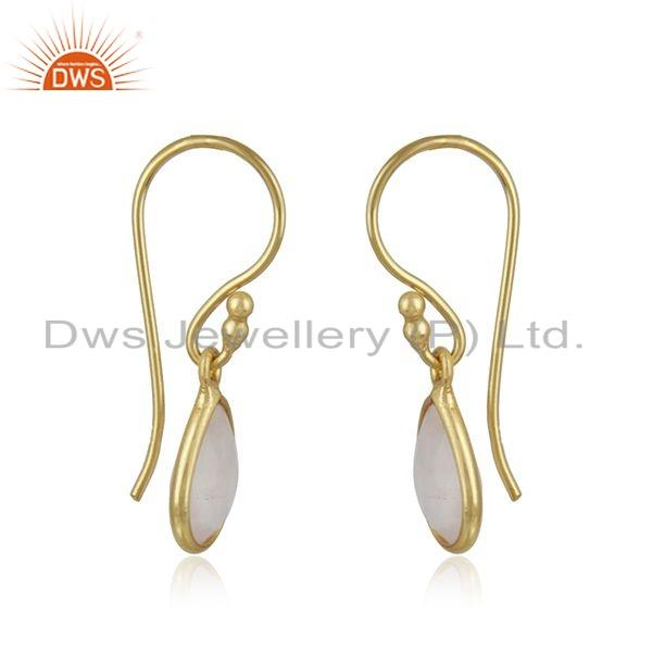 Exporter Gold Plated Silver Rose Quartz Gemstone Earrings Jewelry Supplier