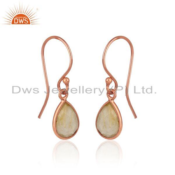 18k rose gold plated silver dangle earring with golden rutile