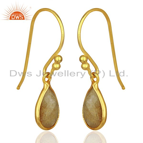 Exporter Golden Rutile Gemstone Gold Plated 925 Silver Drop Earrings Jewelry